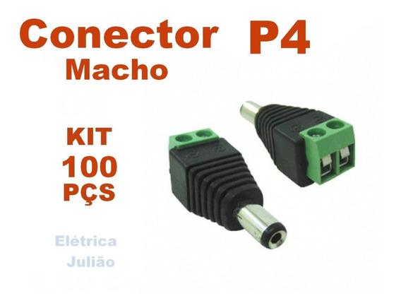 Kit C/ 100 Conector P4 Macho - Cftv