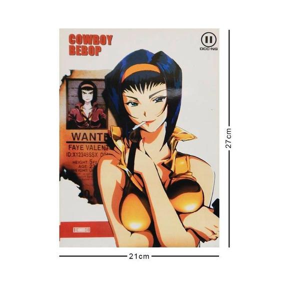 Cowboy Bebop Cromo Poster Tamaño Carta Faye Wanted