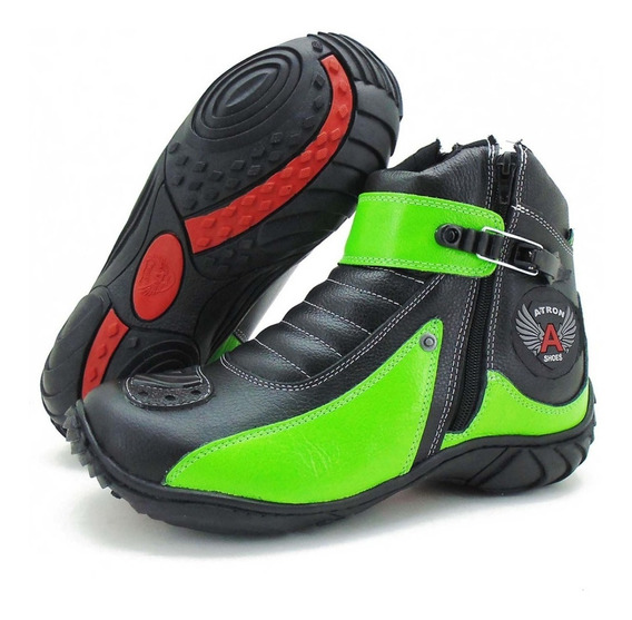 Coturno Motociclista Atron Shoes 271 - Couro Preto/verde Top