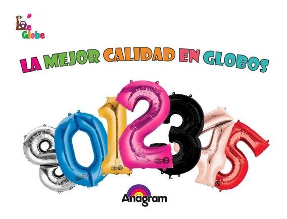20 Globos Numero Metalico 87 Cm Jumbo Gigante Anagram