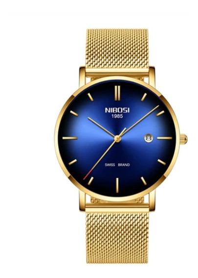 Relógio Nibosi Unissex Ultra Slim Luxo Original Barato