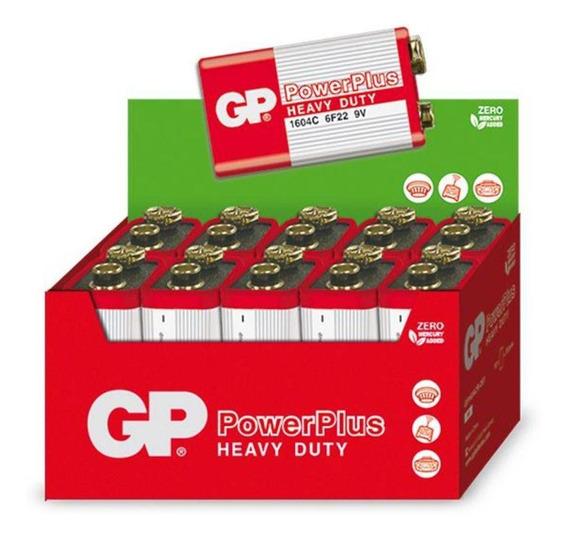 10 Baterias Pilhas 9v Comum Powerplus Gp Zinco Carvão - 1 Cx