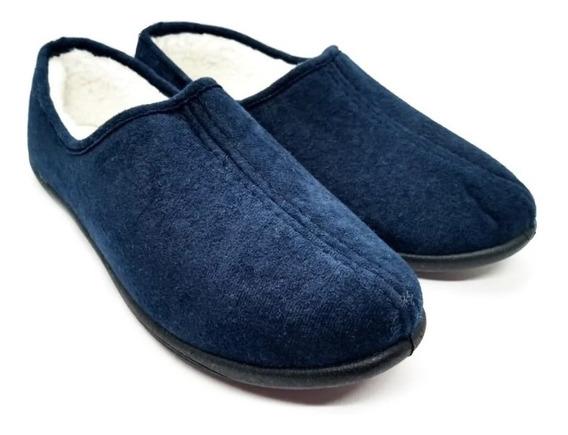 Pantufla Cerrada Con Corderito Azul Talles 35-45 Oferta !!!