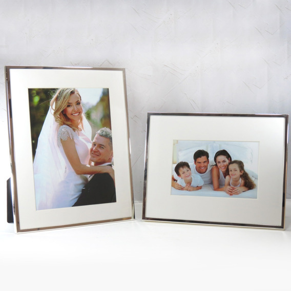 Conj 2 Porta Retratos 10x15 E 15x20 Branco E Metal Cromado