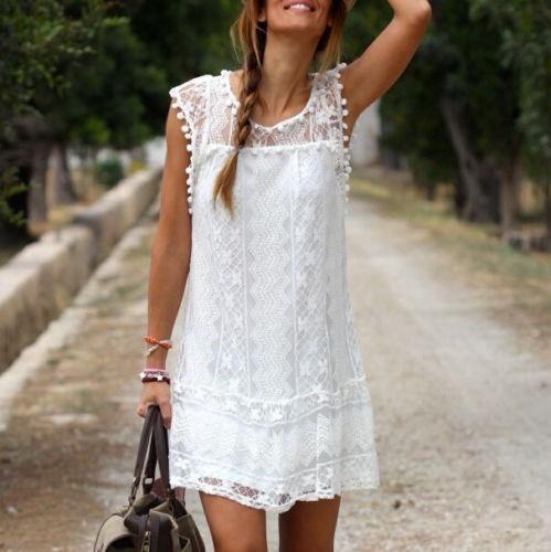 Vestidos Blancos Cortos Para Playa Ropa Y Accesorios En