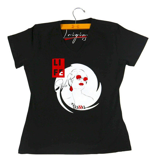 Camiseta Cuello V Estampada