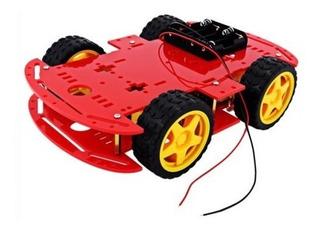 Kit Chassi 4wd Rodas Robótica Carro Robô Arduino - Vermelho