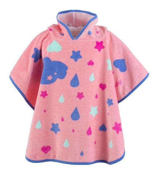 Poncho Para Bebé Con Capucha Rosa Estampado Unicornio