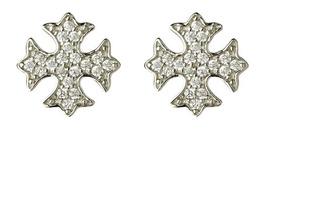 Aros Cruz Malta Plata 925 Cristales Regalo Mujer Mama Fiesta