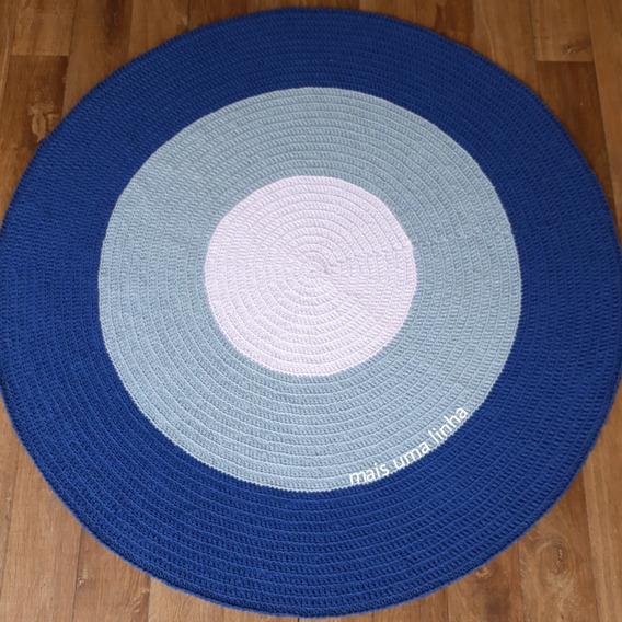 Tapete Redondo De Crochê Azul Para Quarto De Bebê Menino