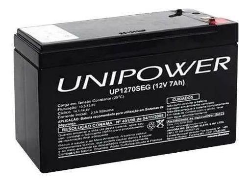 Baterria 12v 7ah Unipower Alarme Nobreak Cerca Eletrica Seg