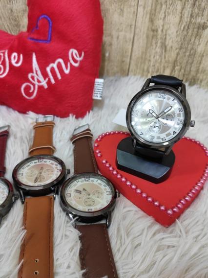 Kit 5 Relógio Masculino De Pulso Couro Lindo Social Atacado