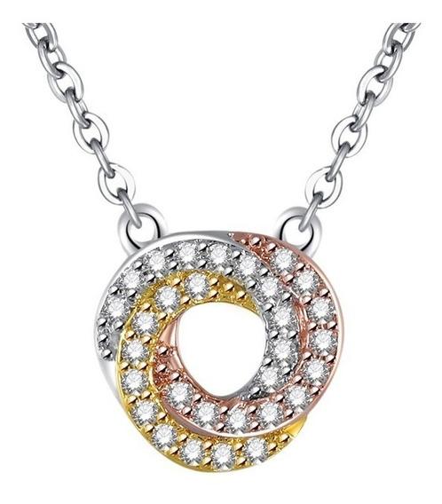 Collar Clásico De Tres Colores Y Zirconias Cúbicas Glam Girl