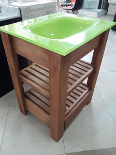 Mueble Vanitory + Mesada De Vidrio Verde 60x50 Cm Baño