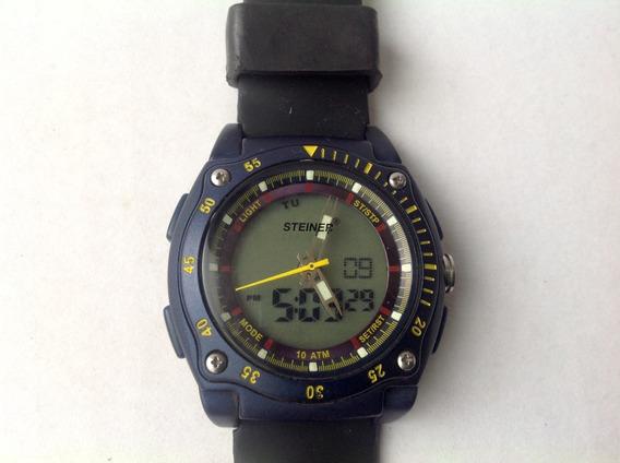 Reloj Steiner Análogo Y Digital Luz Alarma Crono 10 Atm