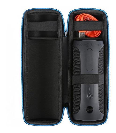 Bolsa Capa Case Para Caixa De Som Jbl Flip 3 Ou 4 Zíper Azul