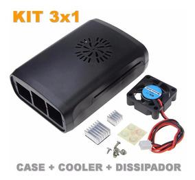 2 Kit - Case Raspberry Pi3 Pi2 Pi 3 + Dissipador E Cooler