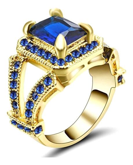 Anel Feminino Vazado Cravejado Pedra Cristal Safira Azul 261