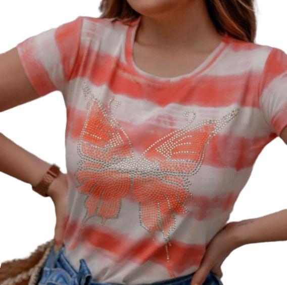 Blusa Camiseta T-shirt Feminino Full Tie Dye Borboleta Verao