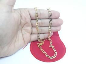 Corrente Banhada Ouro Diamantada Masculina Top Moda Fg 60cm