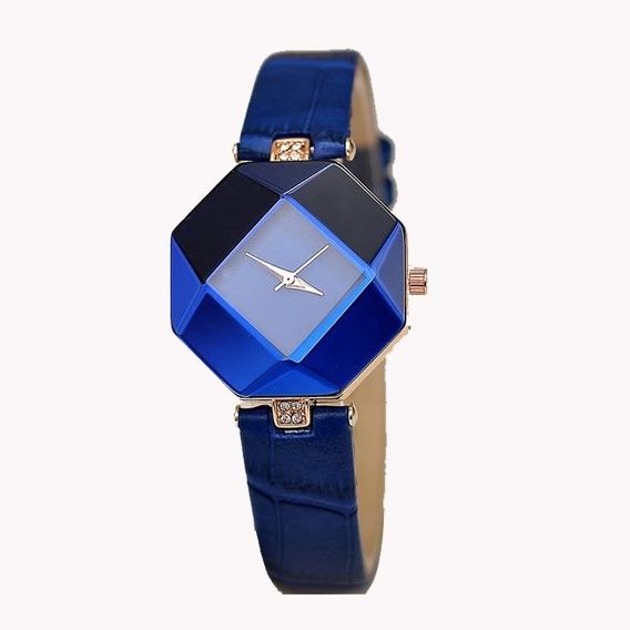 Relógio Feminino Cristal Quartzo Azul Delicado Fino