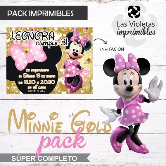 Kit Imprimible Minnie Dorado Y Rosa Super Completo Lv
