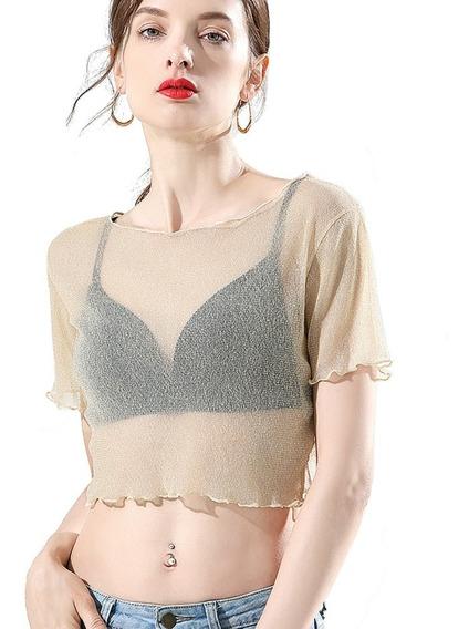 Blusa Crop Top Mujer Corta Transparente Tul Brillante Sexy