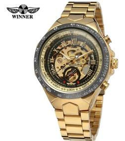 Relógio Winner 3d Esqueleto Mecânico Automático 12x Sem Juro