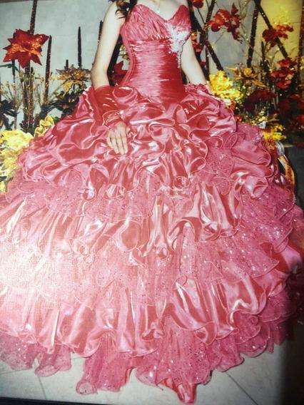 Vestido Coral Para Xv Años (desmontable)(tiene Un Solo Uso)