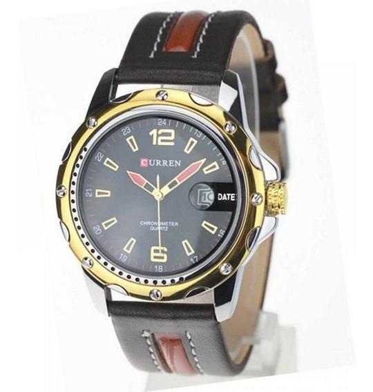 Relógio Masculino Curren Analógico 8104 Preto E Dourado