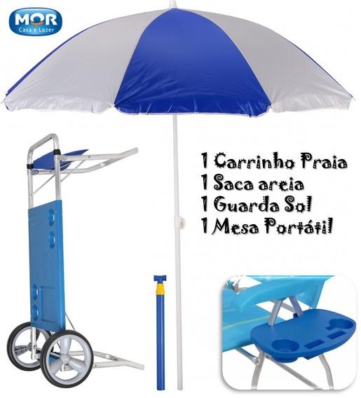 Kit Praia Carrinho+guarda Sol Aço+saca Areia+mesa Cadeiramor
