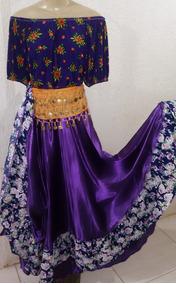 Roupa Cigana Roxa Composta Por Saia,blusa E Cinturão