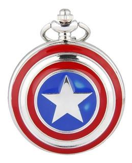 Genial Reloj De Bolsillo Del Capitan America Pocket Watch