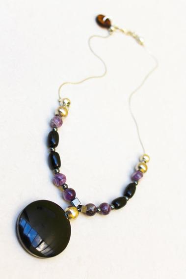 Collar Para Mujer Con Dije De Obsidiana, Amatista, Hematita