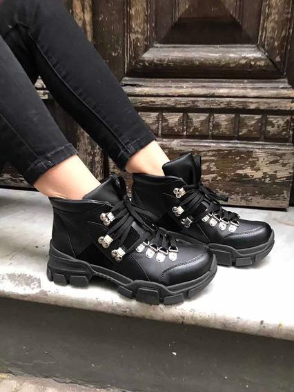 Borcegos Sneakers Zapatillas Negros Tipo Trekking Treaking
