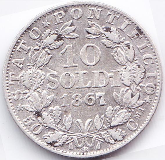 Vaticano Moneda 10 Soldi 1867 R Plata Km# 1376 Vf+