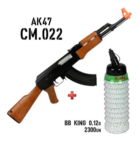 Rifle Fuzil Airsoft Elétrico Ak47 Cyma Cm022 + Bbs 0.12g 6mm