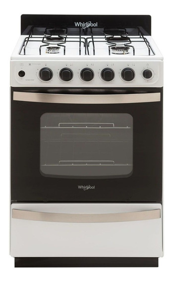 Cocina Whirlpool WFB57DW 4 multigas blanca puerta visor