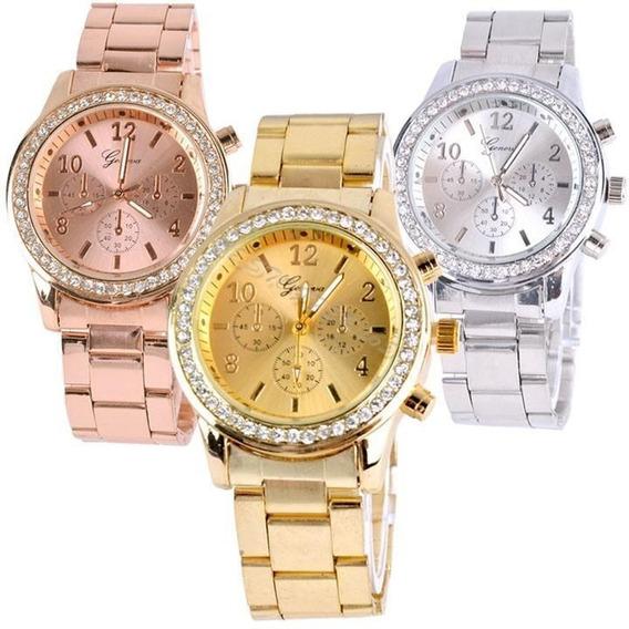 Relógio Feminino Geneva Strass Metal Dourado Prata