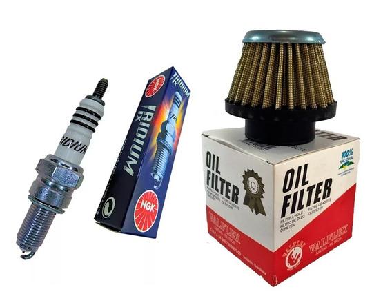 Vela Iridium +filtro Ar Esportivo + Cabo Ibooster Cg 125