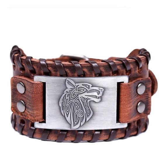 Bracelete Couro Viking Lobo Fenrir Tribal Pulseira Runas