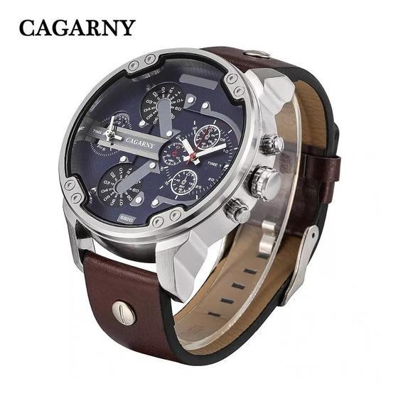 Relógio Masculino Cagarny 6820 Analógico Esportivo Couro