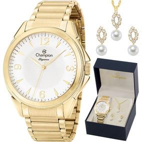 Relógio Champion Feminino Dourado Cn26091w + Kit