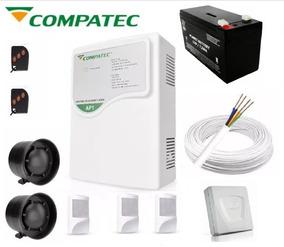 Kit Alarme Ap1 Compatec 3 Sensor Discador Bateria Cabo