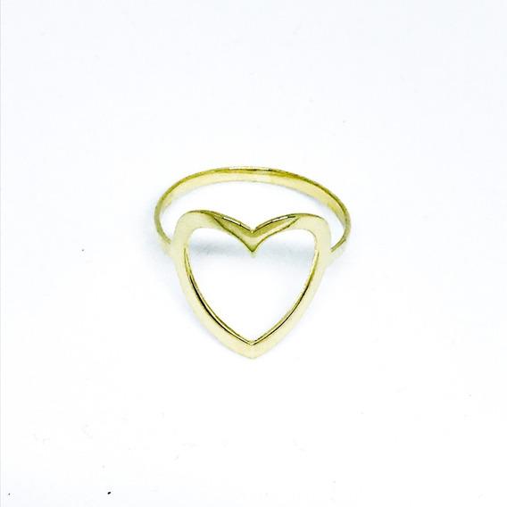 Anel Coração Vazado Grande Joia Banhada A Ouro 18