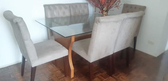 Mesa Tampo De Vidro 6 Cadeiras Design Sofisticado De Luxo
