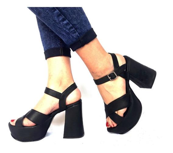 Sam123 Zapatos Stilettos Cuero Talles Grandes Carol Negro