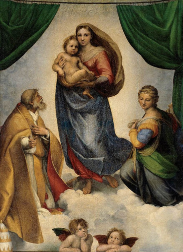 Lienzo Tela Pintura Madona Sixtina Arte Sacro 50x70cm
