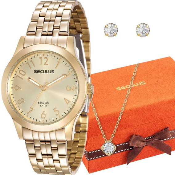 Relógio Seculus Feminino 20403lpsvda1k + Kit Colar E Brincos