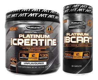 Platinum Creatina 400g Muscletech + Platinum Bcaa 60caps